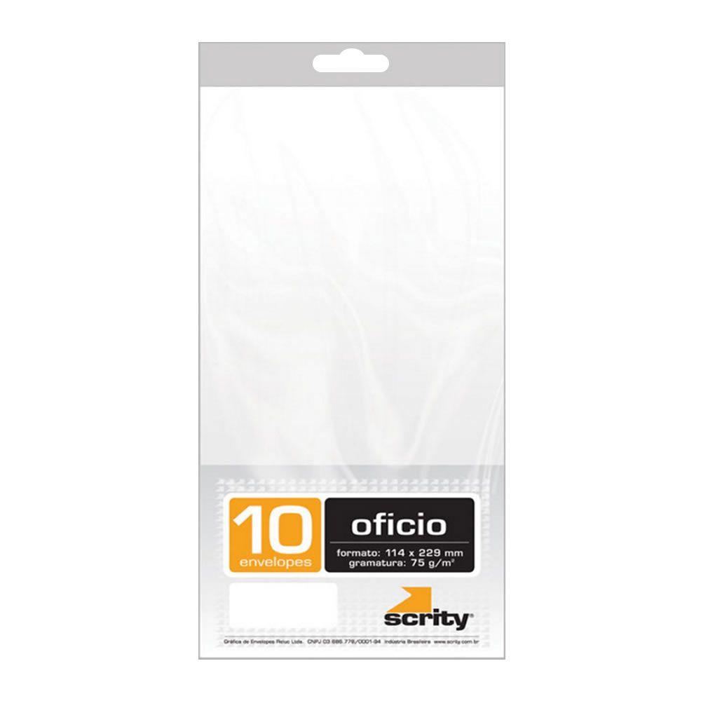 Envelope Ofício Liso Branco COF140 114x229mm Scrity 10un