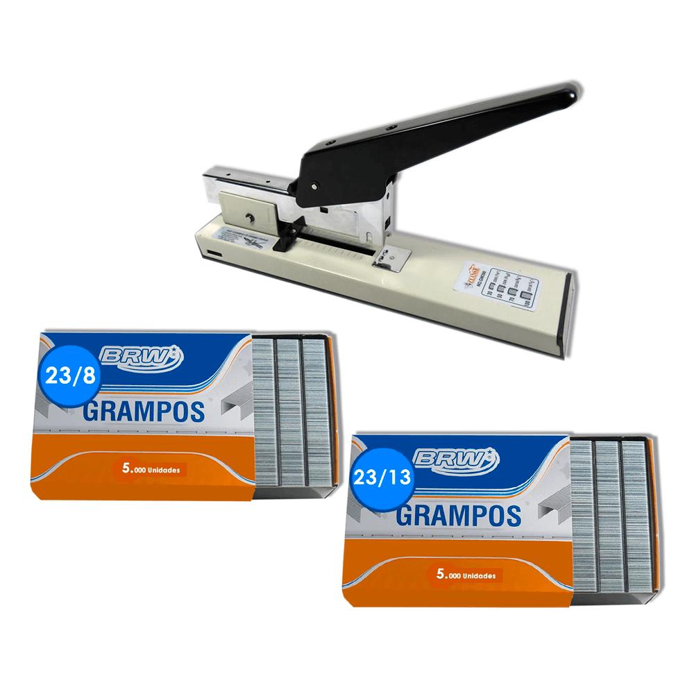 Grampeador Profissional GW390 100 fls + Grampos 23/8 e 23/13