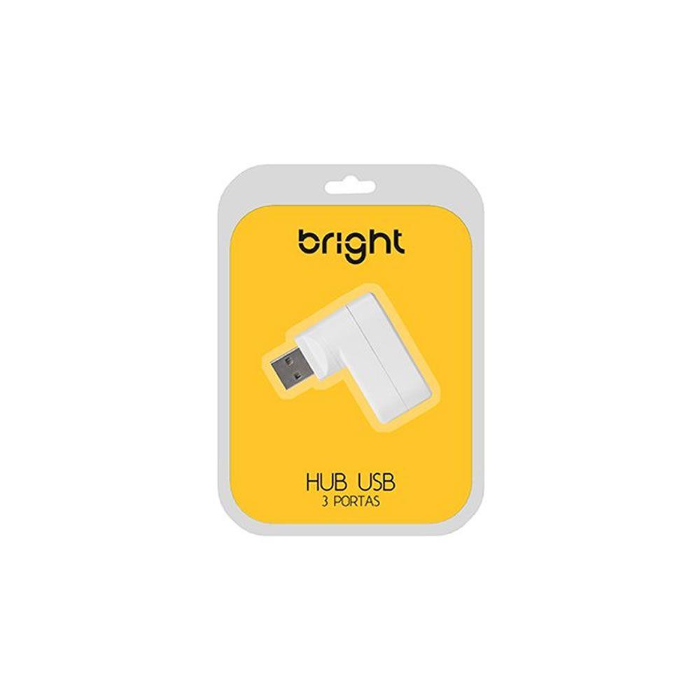 Hub USB 3 portas 2.0 Branco 0335 Plug Giratório Bright 01un
