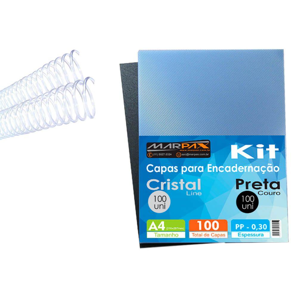 Kit 200 Capas para encadernação A4 + 200 Espirais 9mm