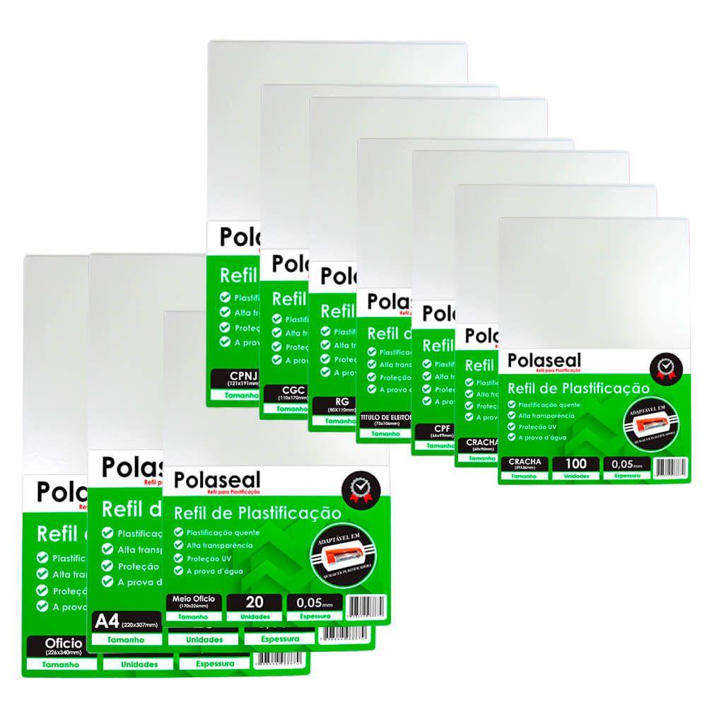 Kit 600 Plásticos Polaseal p/ Plastificação Tamanhos Variados 0,05mm