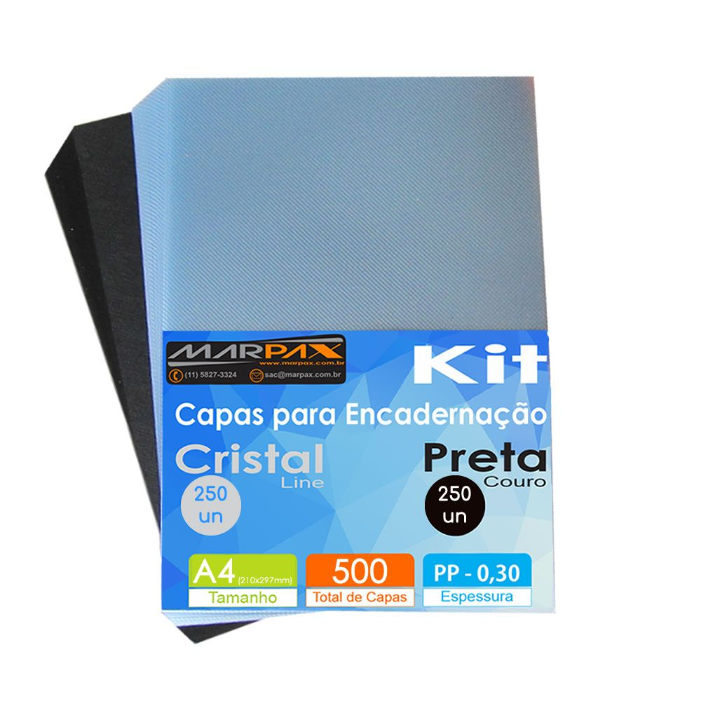 Kit Capa encadernação A4 - Preta Couro + Cristal Line 500un