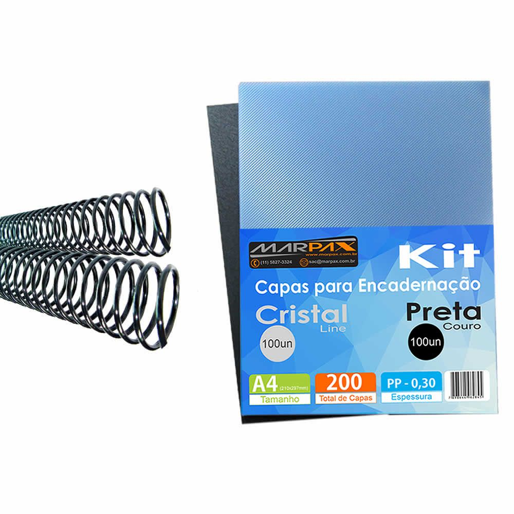 Kit Encadernação 200 Capas A4 + 200 Espirais Pretos 12, 14mm