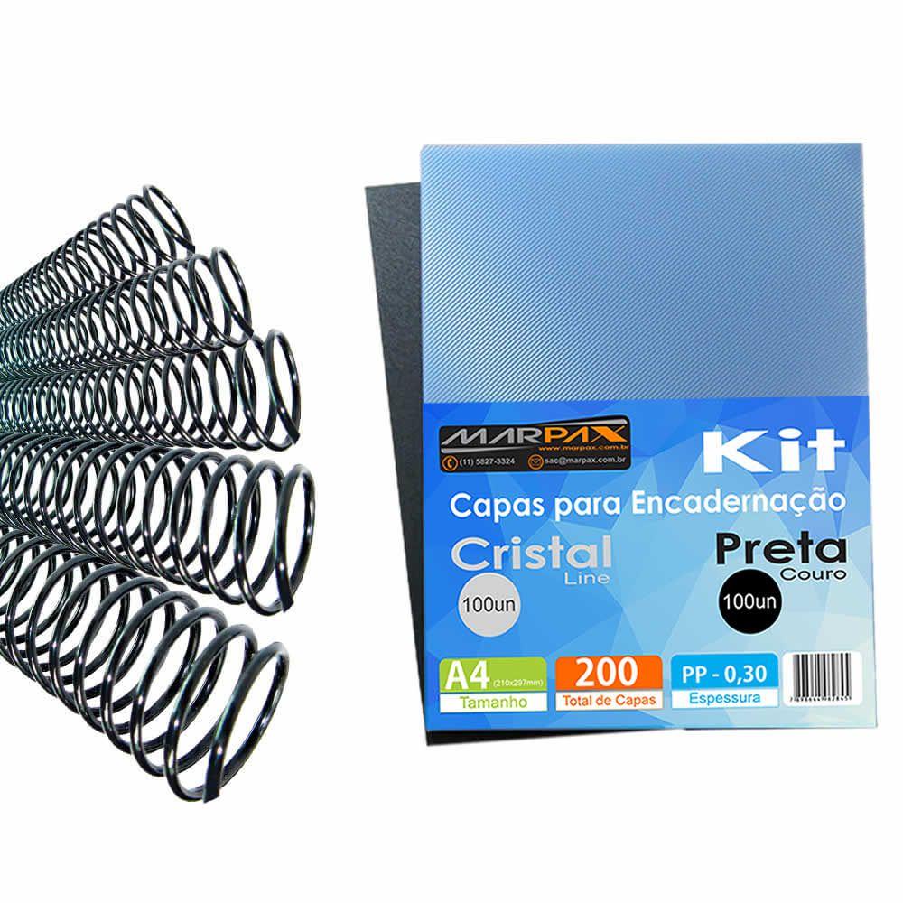 Kit Encadernação 200 Capas A4 + 500 Espirais Pretos Marpax