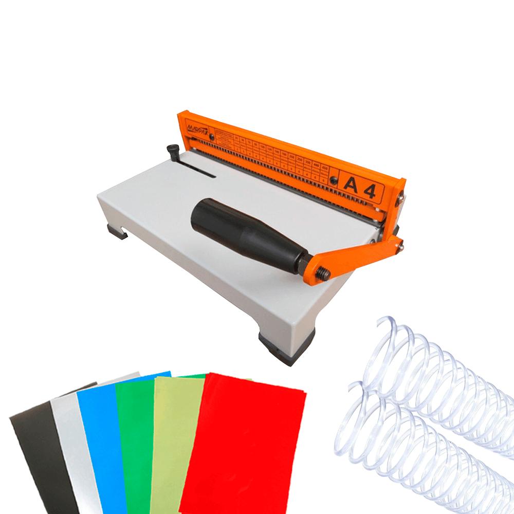 Kit Encadernação A4-X + 180 Capas PVC + 200 Espirais Cristal