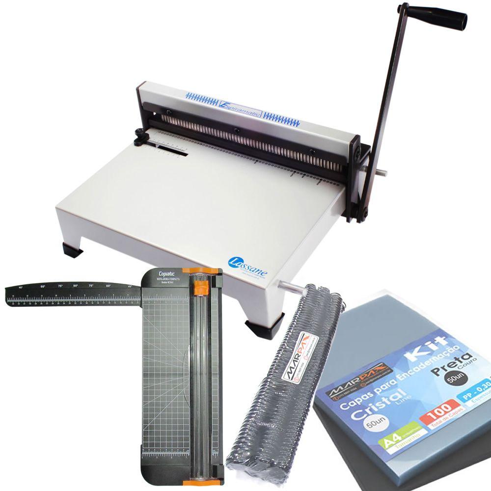 Kit Encadernadora Espiramatic + Refiladora RCM5 + Insumos