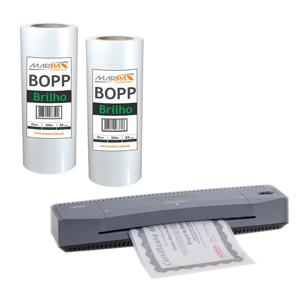 Kit Laminadora Aurora A3 + BOPP A4 + BOPP A3 Brilho Marpax 220V
