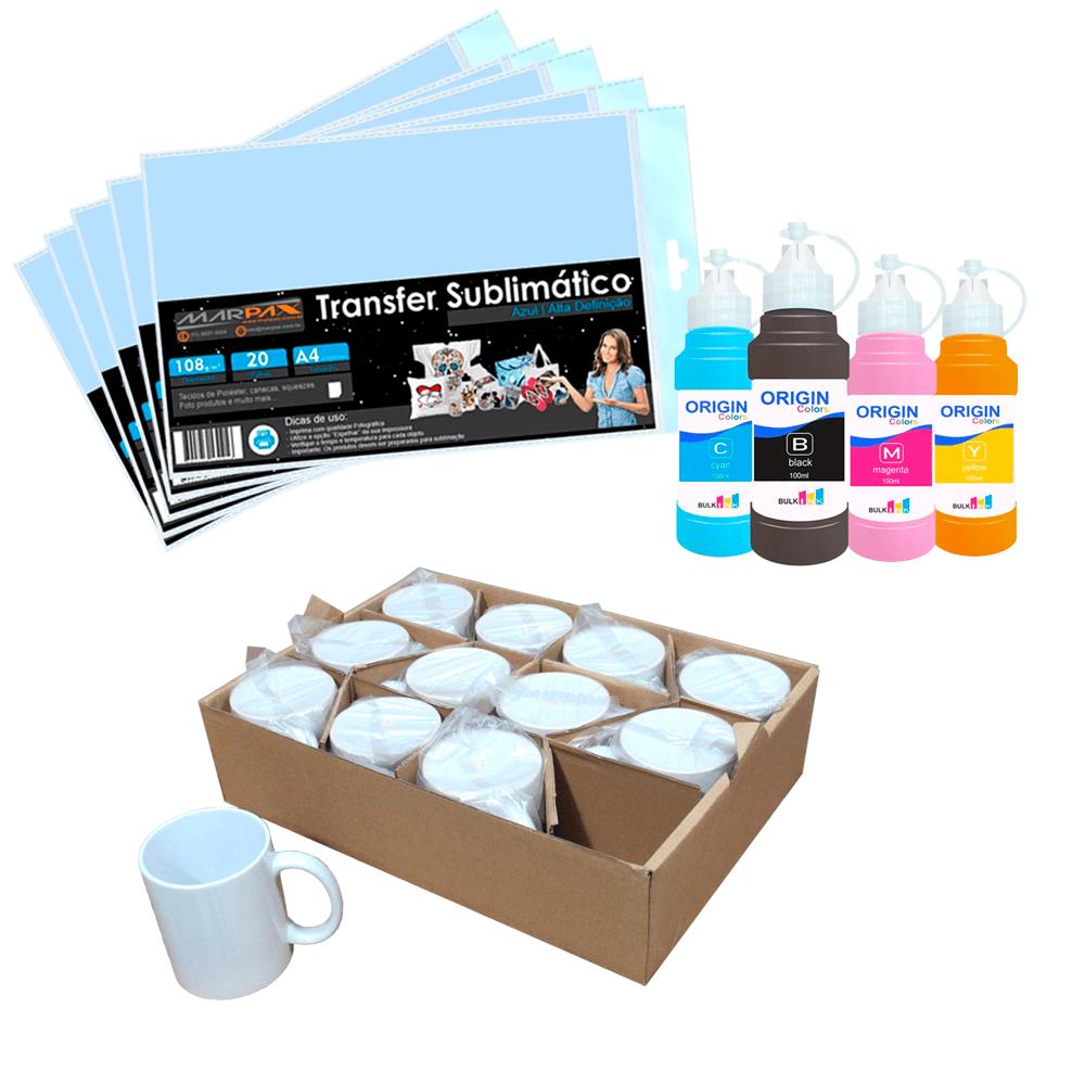 Kit para Sublimação com 12 Canecas + Papel + Tinta 4x100ml