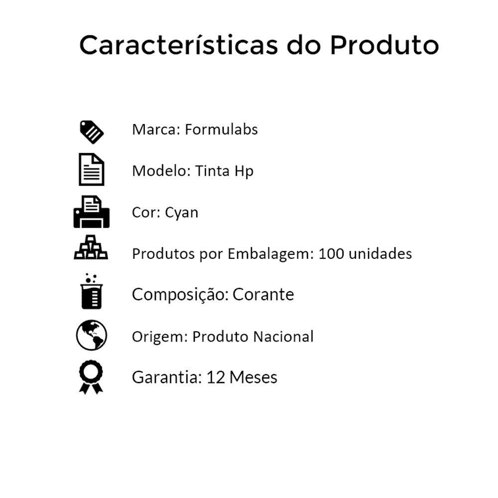 Kit Tinta para impressora HP Compatível Formulabs Cyan 100 Litros