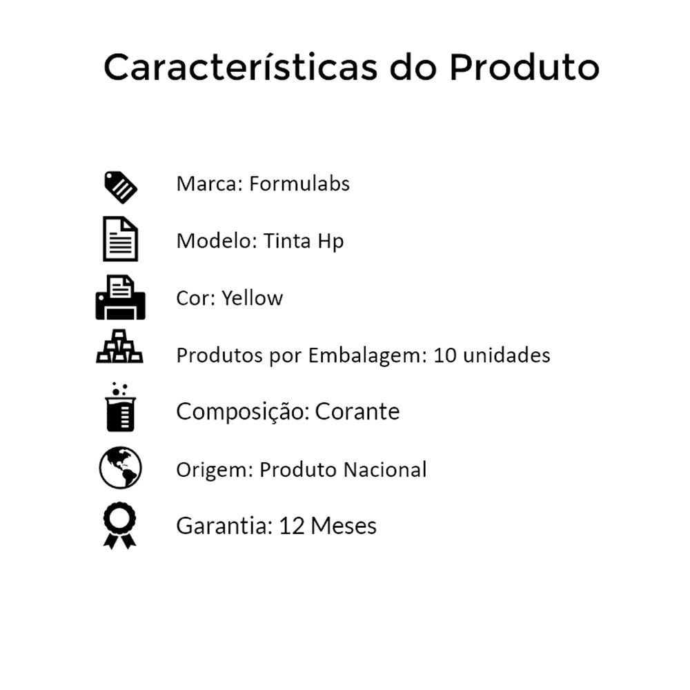Kit Tinta para impressora HP Compatível Formulabs Yellow 10 Litros