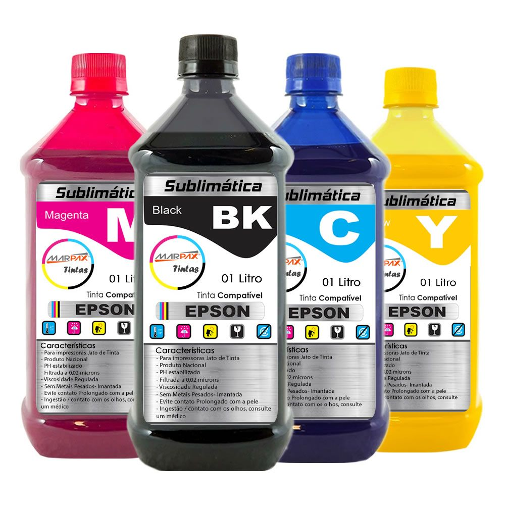 Kit Tinta Sublimática Epson Compatível Marpax CMYK 4x1000ml