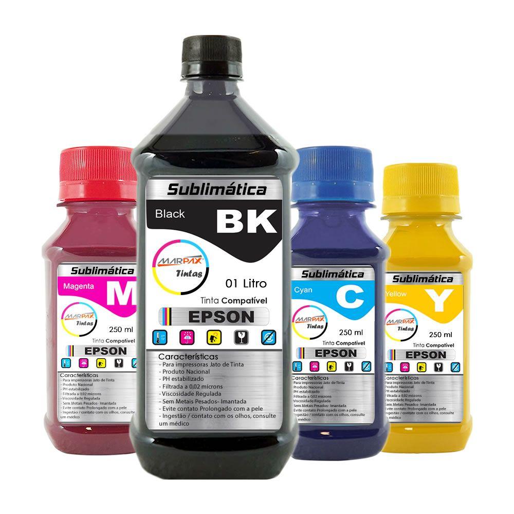 Kit Tinta Sublimática Epson Marpax BK 1000ml Coloridas 250ml