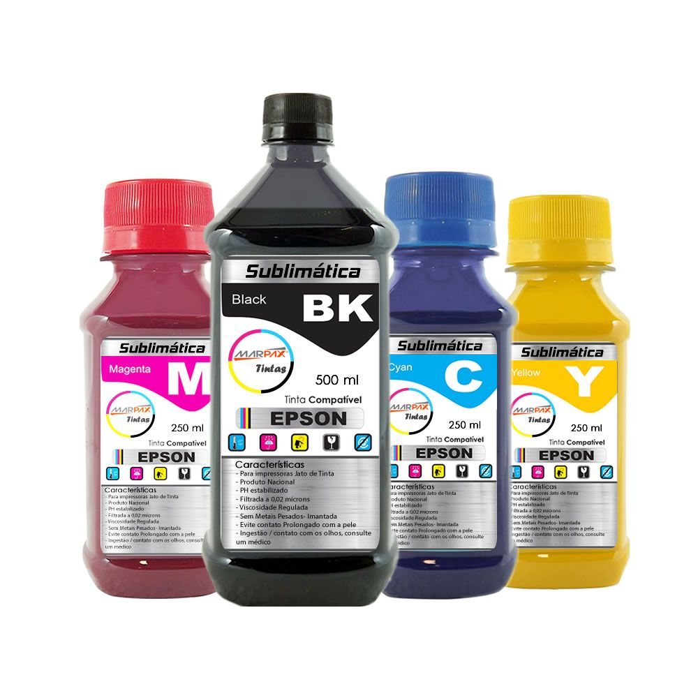 Kit Tinta Sublimática Epson Marpax BK 500ml Coloridas 250ml