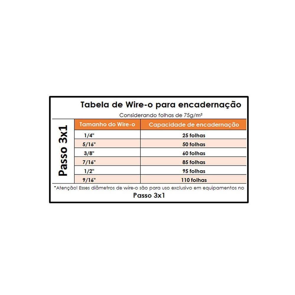Kit wire-o 3x1 Branco 1/4 - 5/16 - 7/16 -9/16 (25 cada)100un