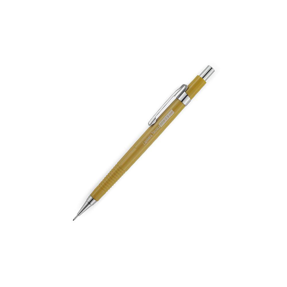 Lapiseira 0.9mm técnica Amarela com Borracha BRW 01un