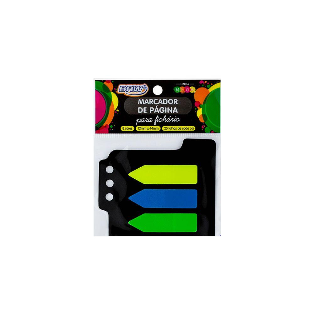 Marcador de Página Adesivo 12x44mm Neon p/ Fichario 8 Cores BRW