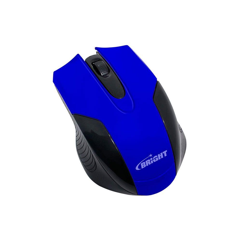 Mouse Óptico USB 800 Dpi Preto/Azul 0379 Bright 01un