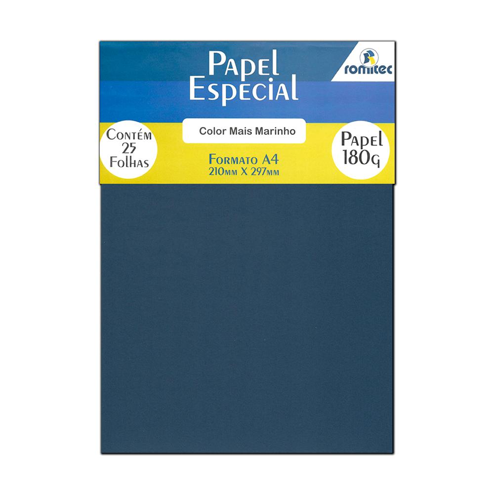 Papel Color Plus Azul Marinho A4 210x297mm 180g Romitec 25Fls