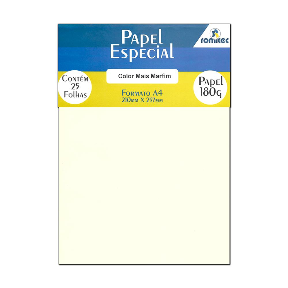 Papel Color Plus Marfim A4 210x297mm 180g Romitec 25Fls
