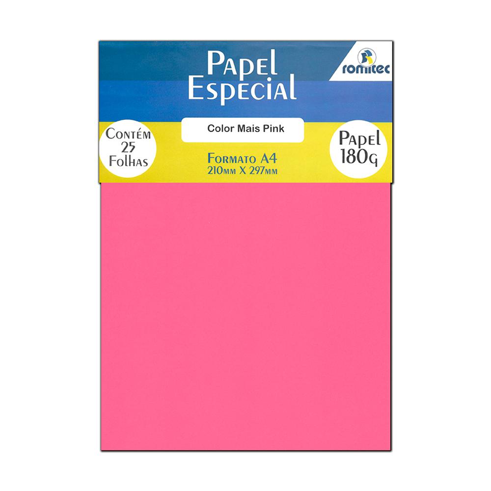 Papel Color Plus Pink A4 210x297mm 180g Romitec 25Fls