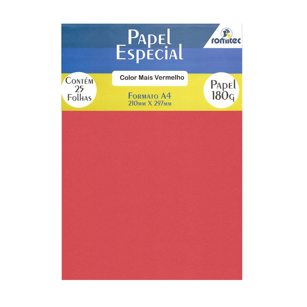 Papel Color Plus Vermelho A4 210x297mm 180g Romitec 25Fls