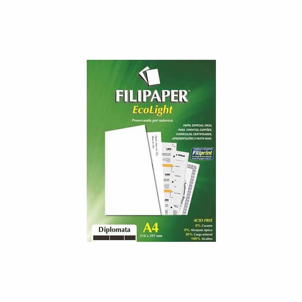 Papel Diplomata Ecolight A4 210x297mm 180g Filipaper 20Fls