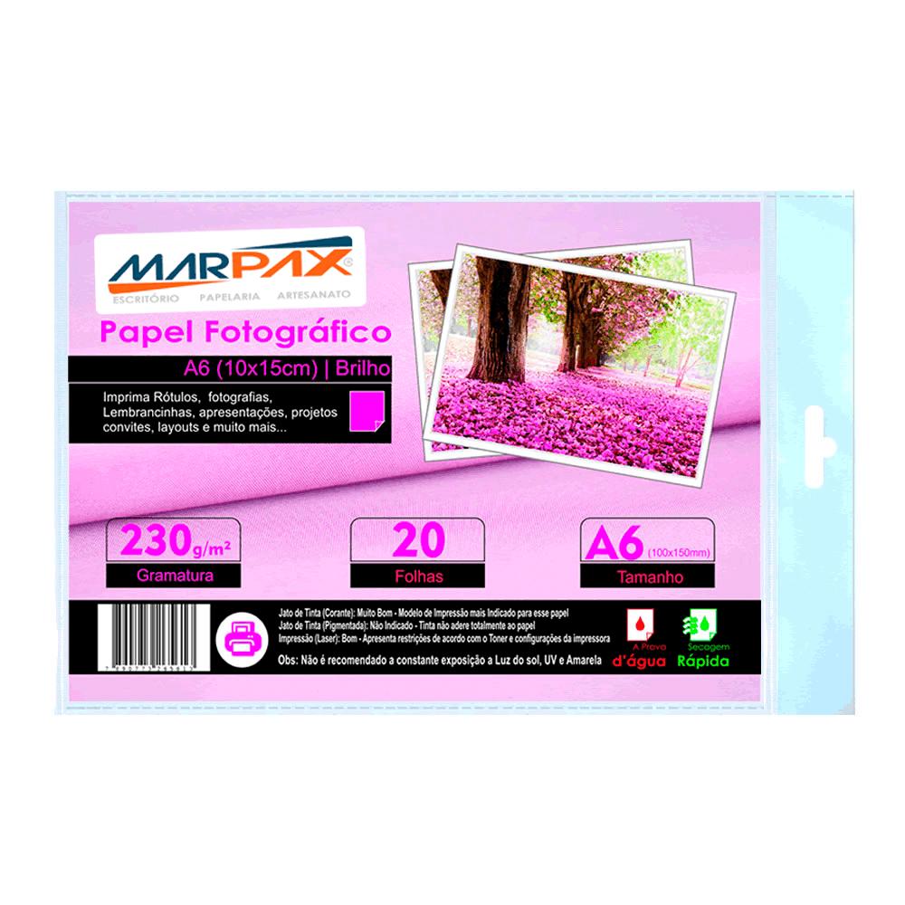 Papel Fotográfico 10x15 Brilhante Glossy 230g Marpax 20 Fls