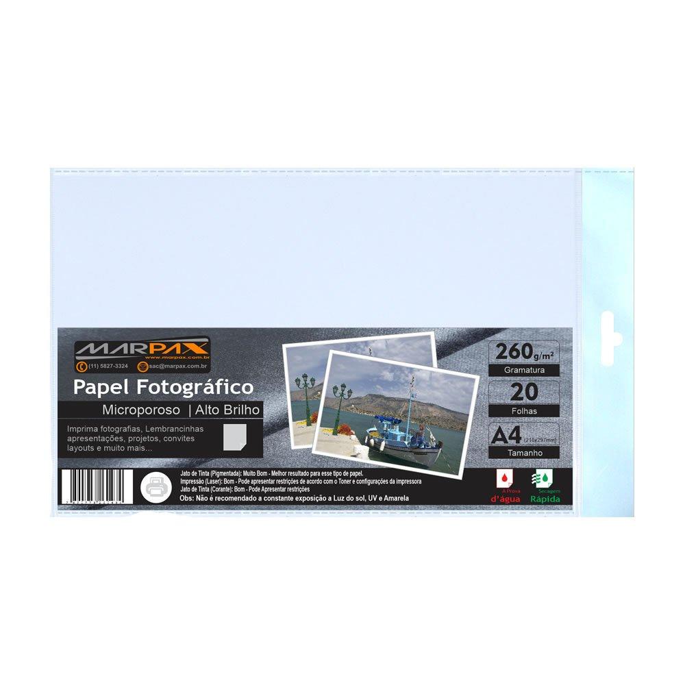 Papel Fotográfico 260g Microporoso Brilho A4 Marpax 20fls