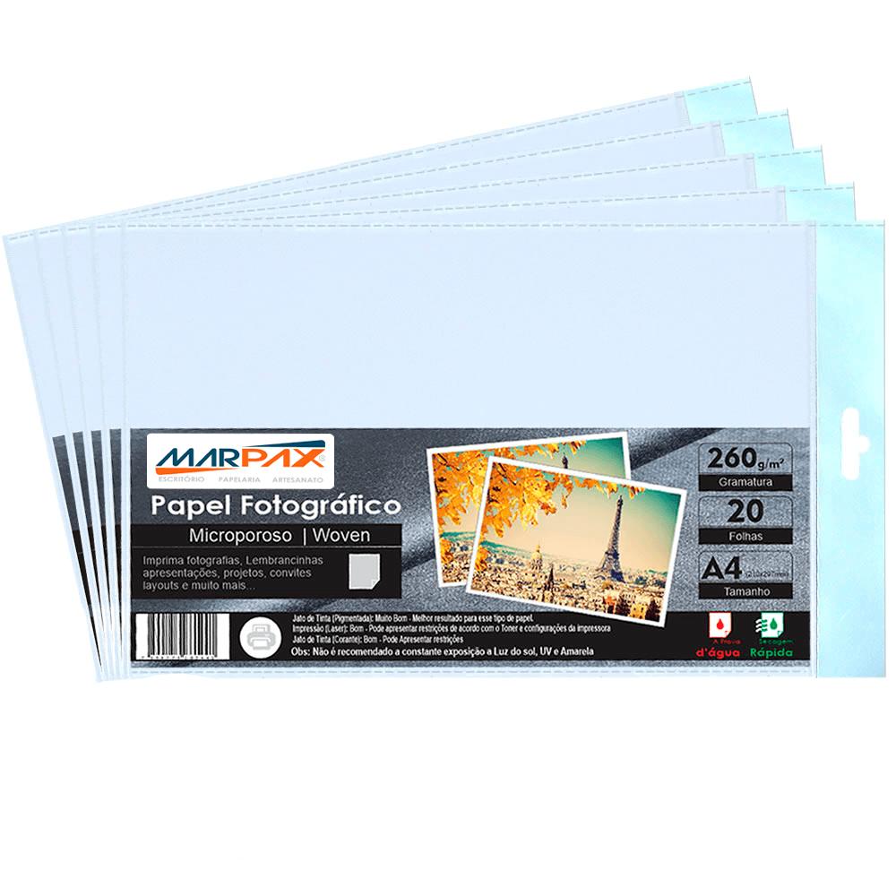 Papel Fotográfico 260g Microporoso Woven A4 Marpax 100fls
