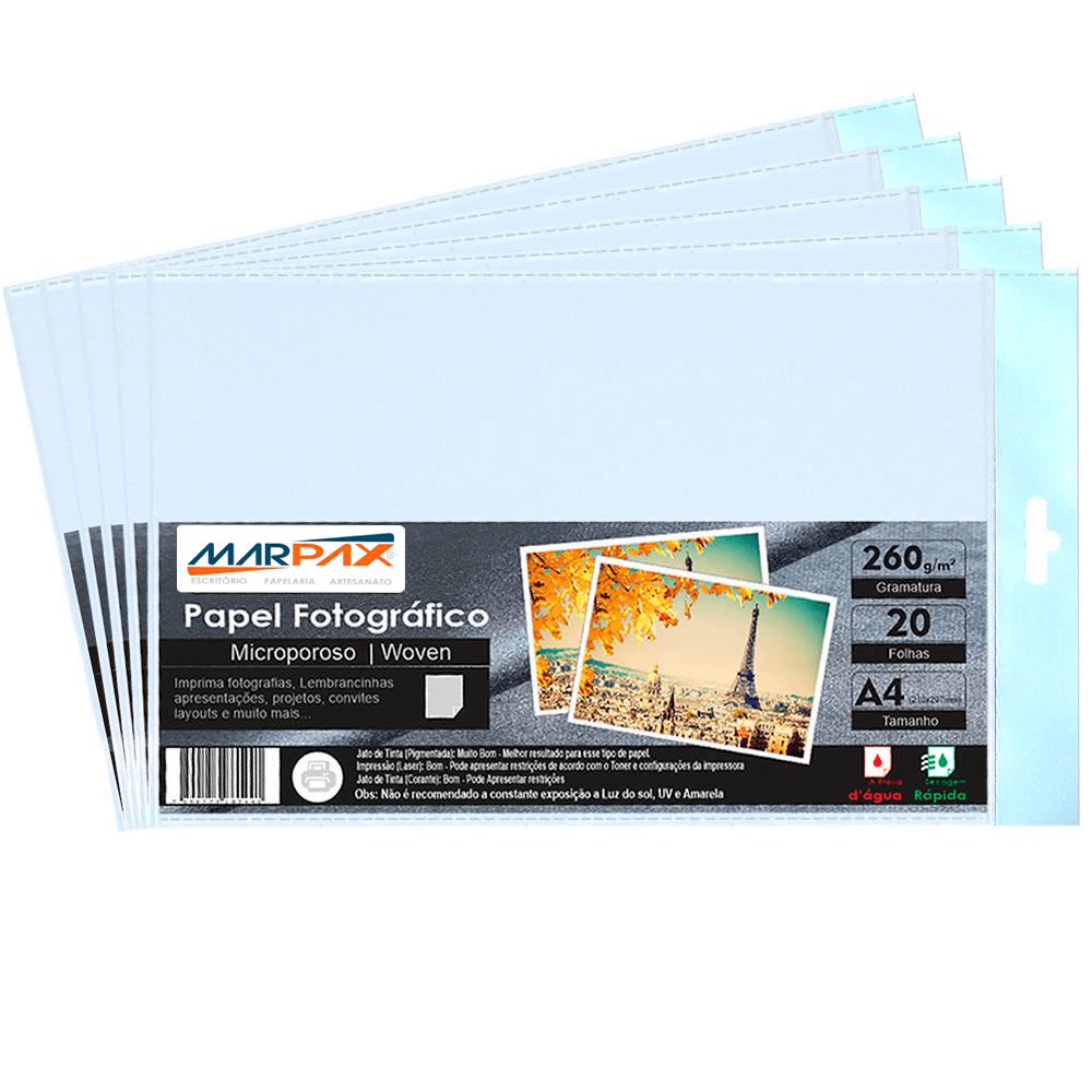 Papel Fotográfico 260g Microporoso Woven A4 Marpax 200fls