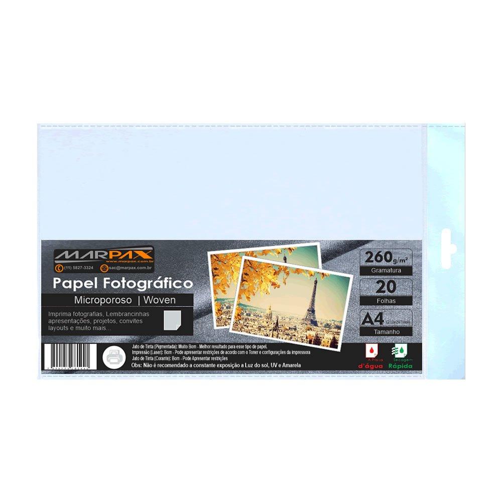 Papel Fotográfico 260g Microporoso Woven A4 Marpax 20fls