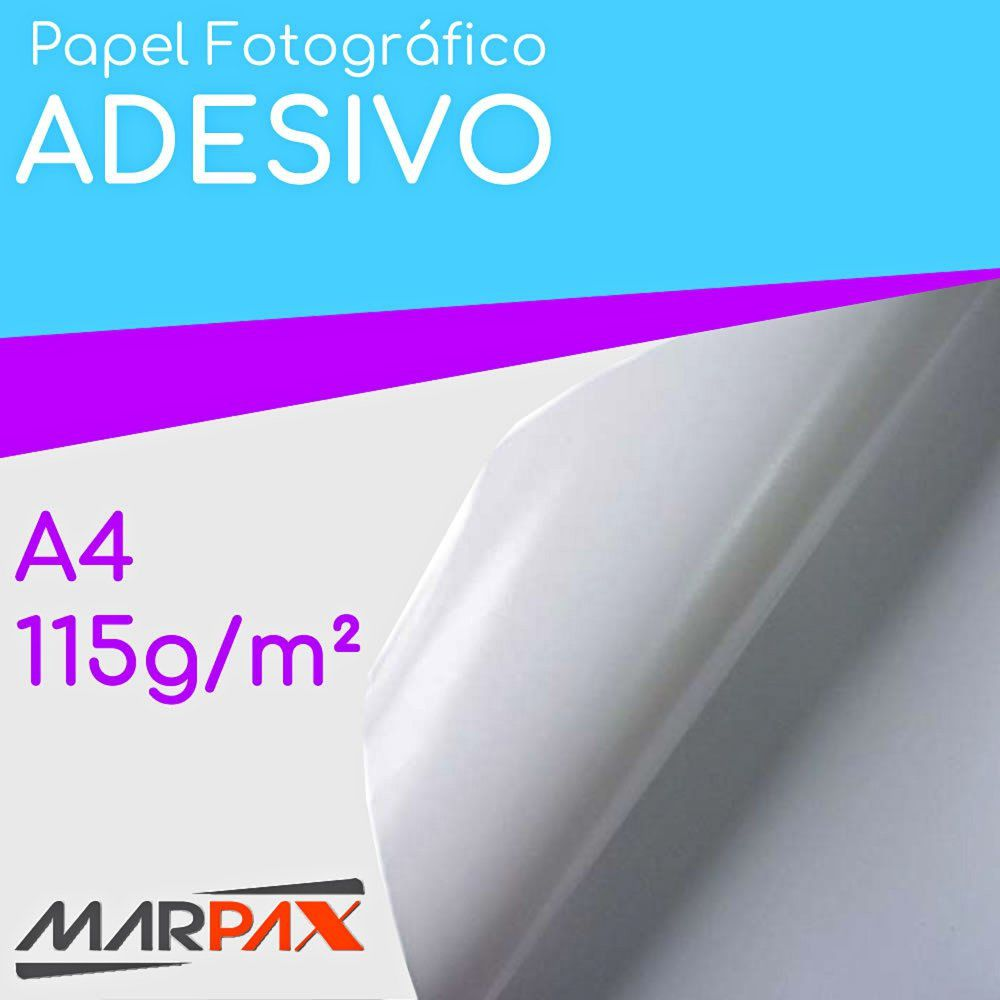 Papel Fotográfico Adesivo 115g A4 210x297mm Marpax 20 Fls