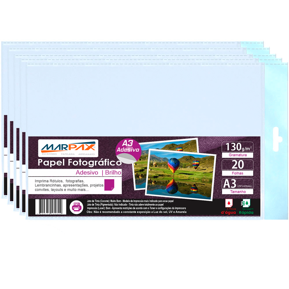 Papel Fotográfico Adesivo 130g A3 297x420mm Marpax 100 Fls