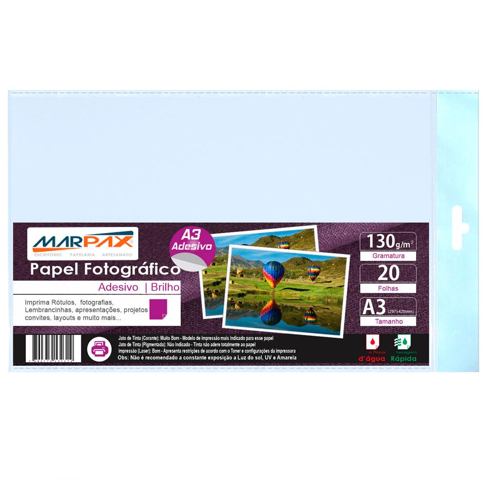 Papel Fotográfico Adesivo 130g A3 297x420mm Marpax 20 Fls