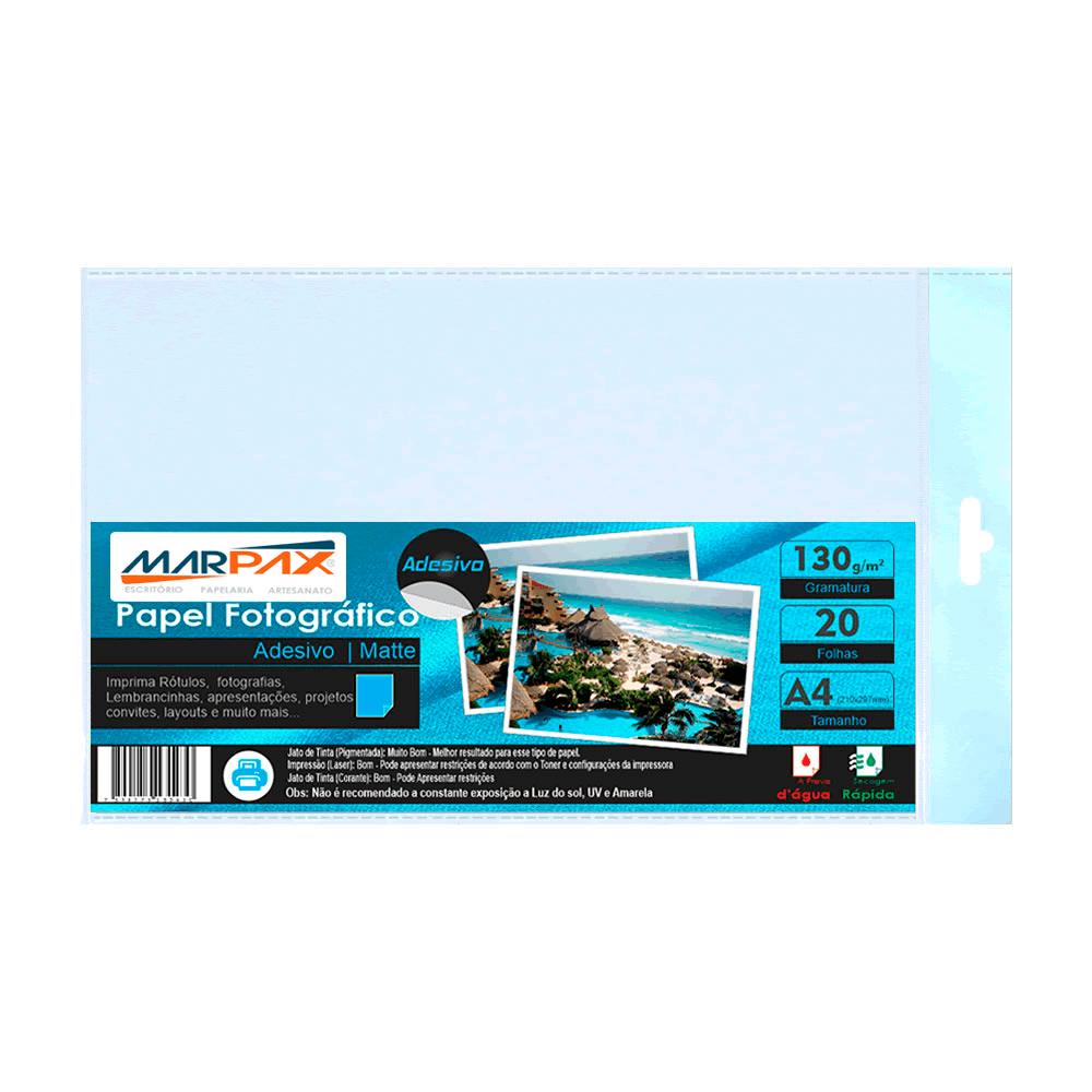 Papel Fotográfico Adesivo Fosco Matte 130g A4 Marpax 20Fls