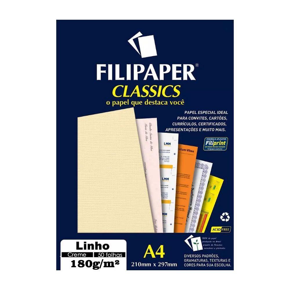 Papel Linho Creme A4 210x297mm 180g/m² Filipaper 50 Folhas