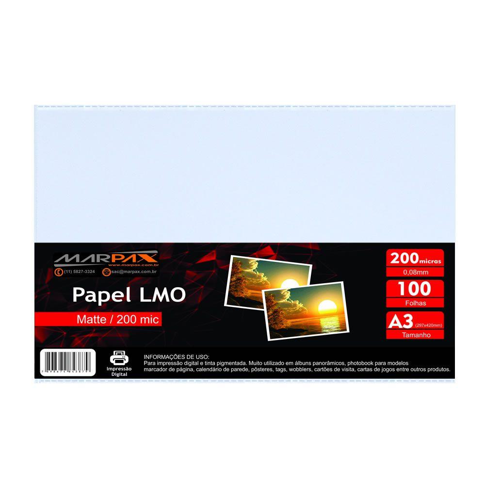 Papel LMO Matte 200 mic 297x420MM Marpax 100fls