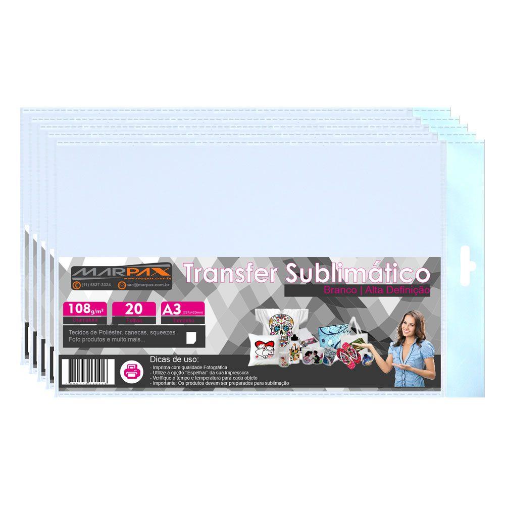 Papel para sublimação Transfer A3 297x420 108g Marpax 500fls