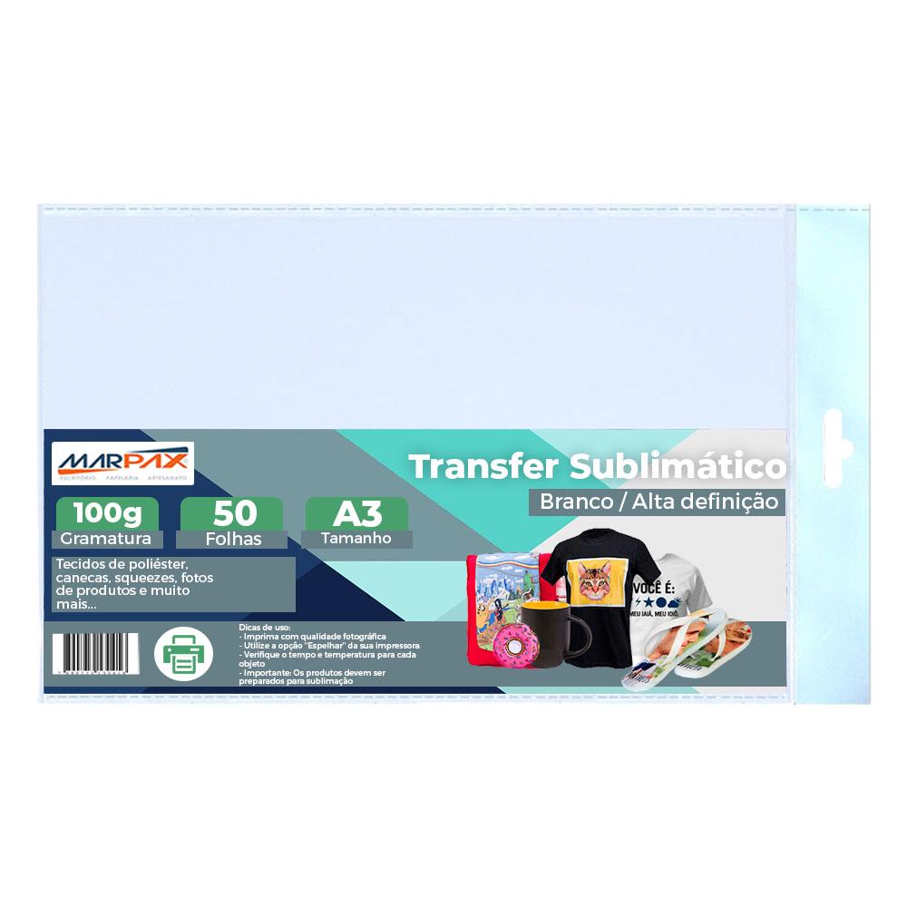 Papel para sublimação transfer A3 297X420mm 100G Marpax 50FLS