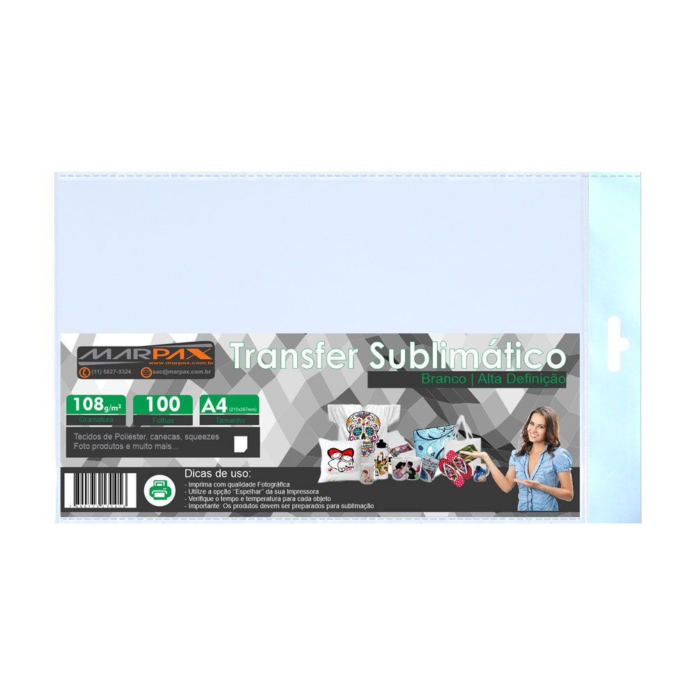 Papel para sublimação Transfer A4 210x297 108g Marpax 100fls