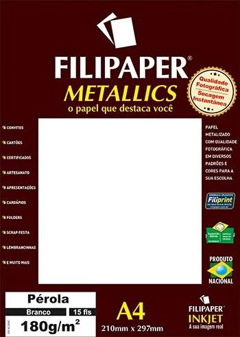 Papel Perolado Branco A4 210x297mm 180g/m² Filipaper 15 fls
