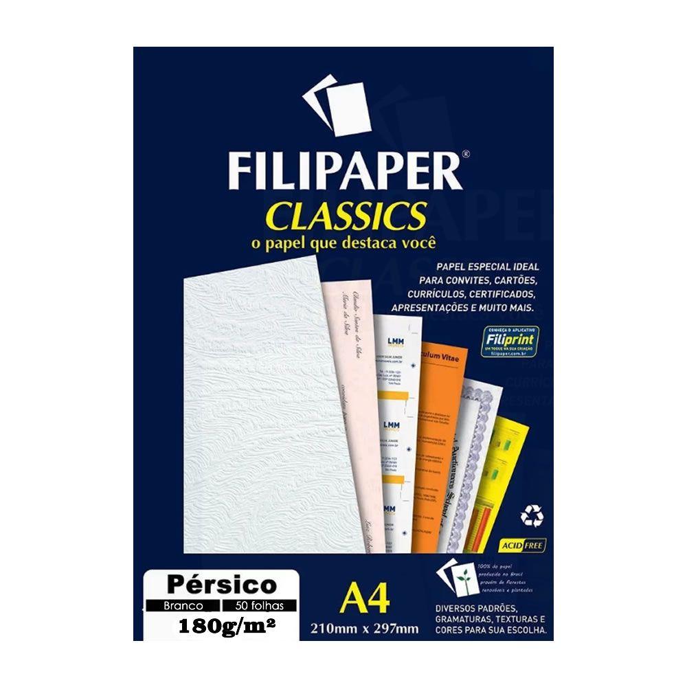 Papel Pérsico Branco A4 210x297mm 180g/m² Filipaper 50 Fls