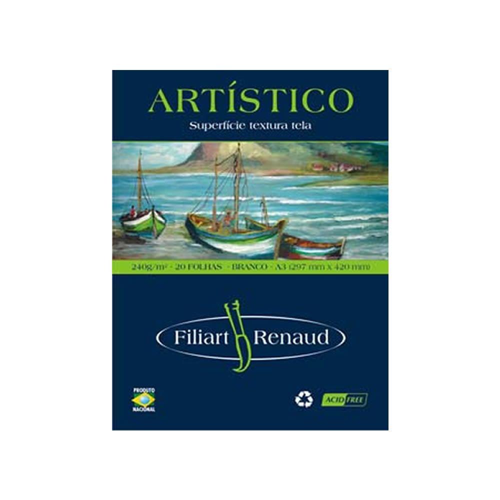 Papel Renaud Artístico Branco 240g A3 Filipaper 20 Fls