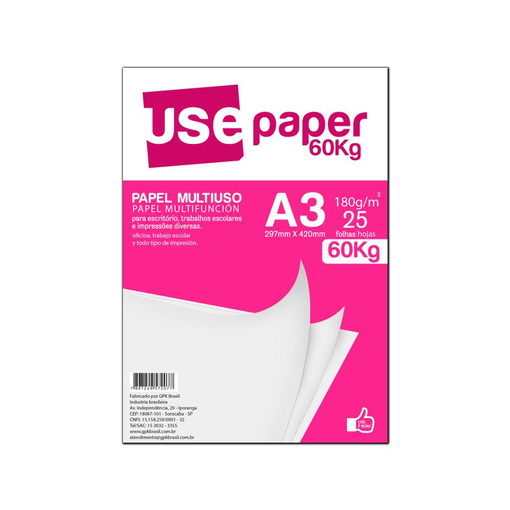 Papel Sulfite A3 180g/m² para impressão 60kg Branco 25 fls