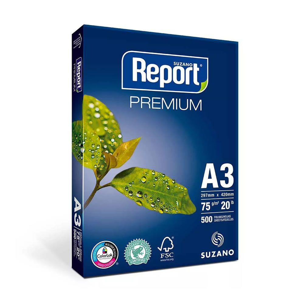 Papel Sulfite A3 75g/m² para impressão Report Branco 500 fls