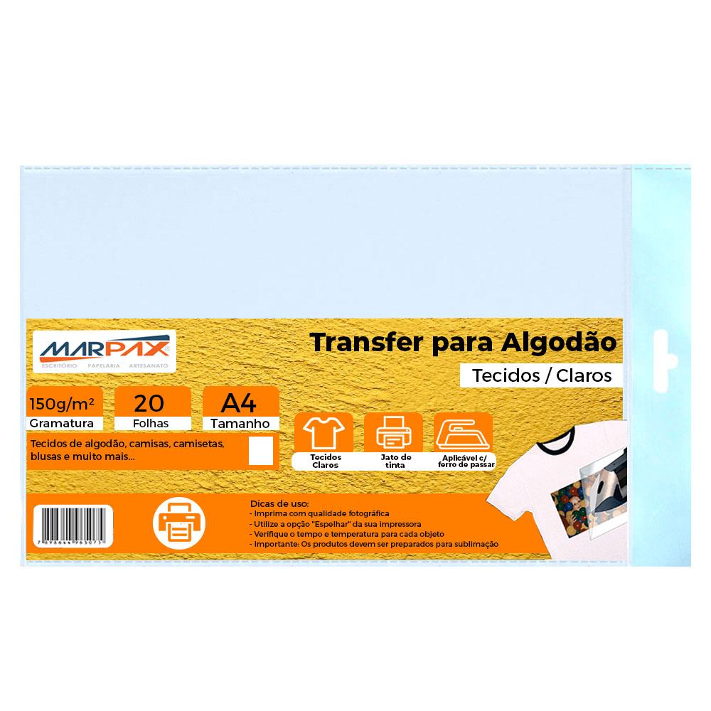 Papel Transfer Jato de tinta A4 Tecidos Claros 150g/m² Marpax 20Fls