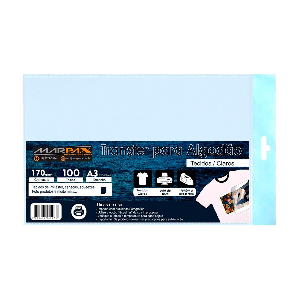 Papel Transfer para algodão A3 Tecidos Claros Marpax 100Fs