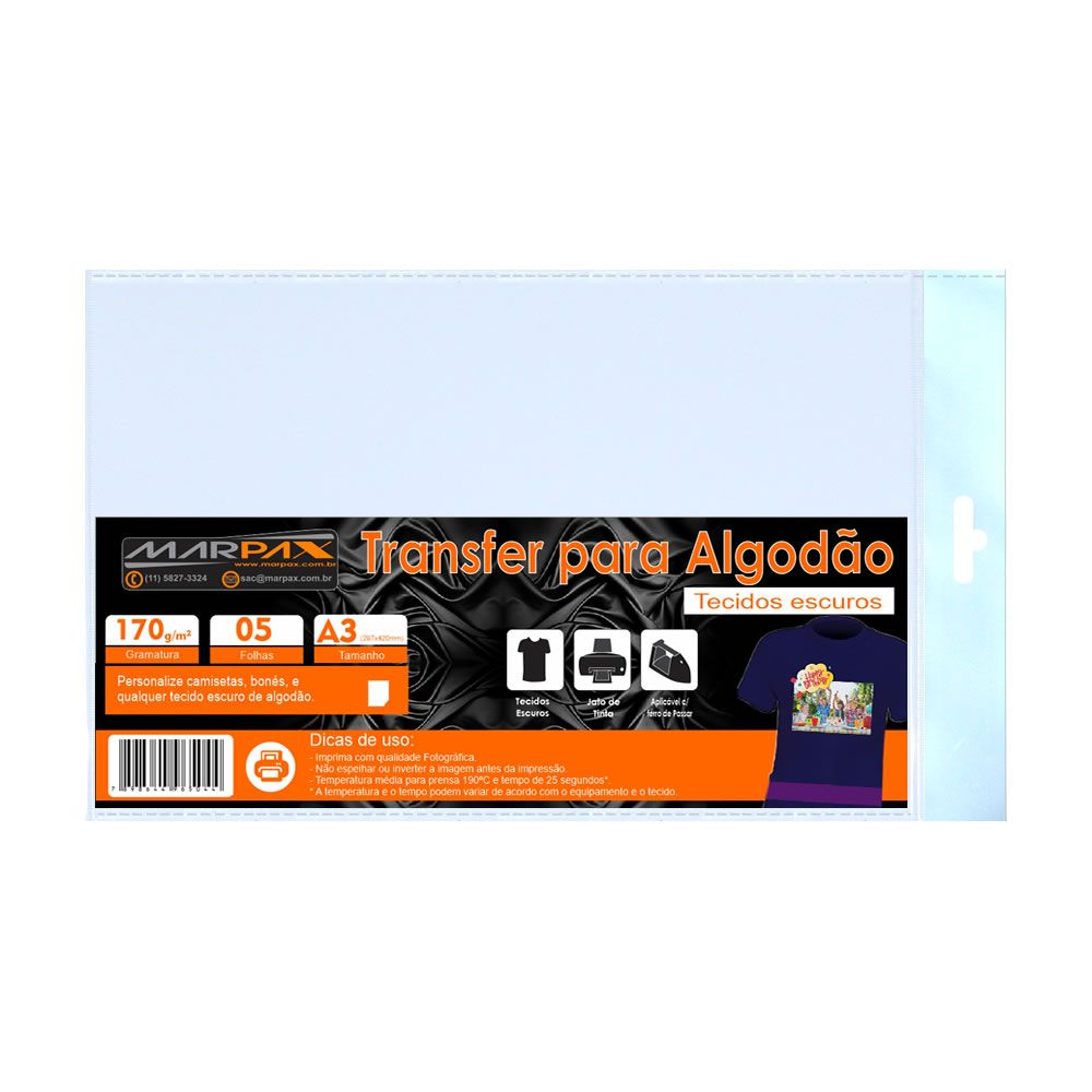 Papel Transfer para algodão A3 Tecidos Escuros Marpax 5 Fls