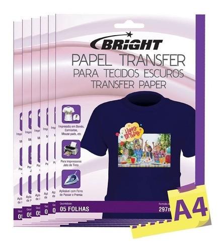 Papel Transfer para algodão A4 Tecidos Escuros Bright 50 Fls