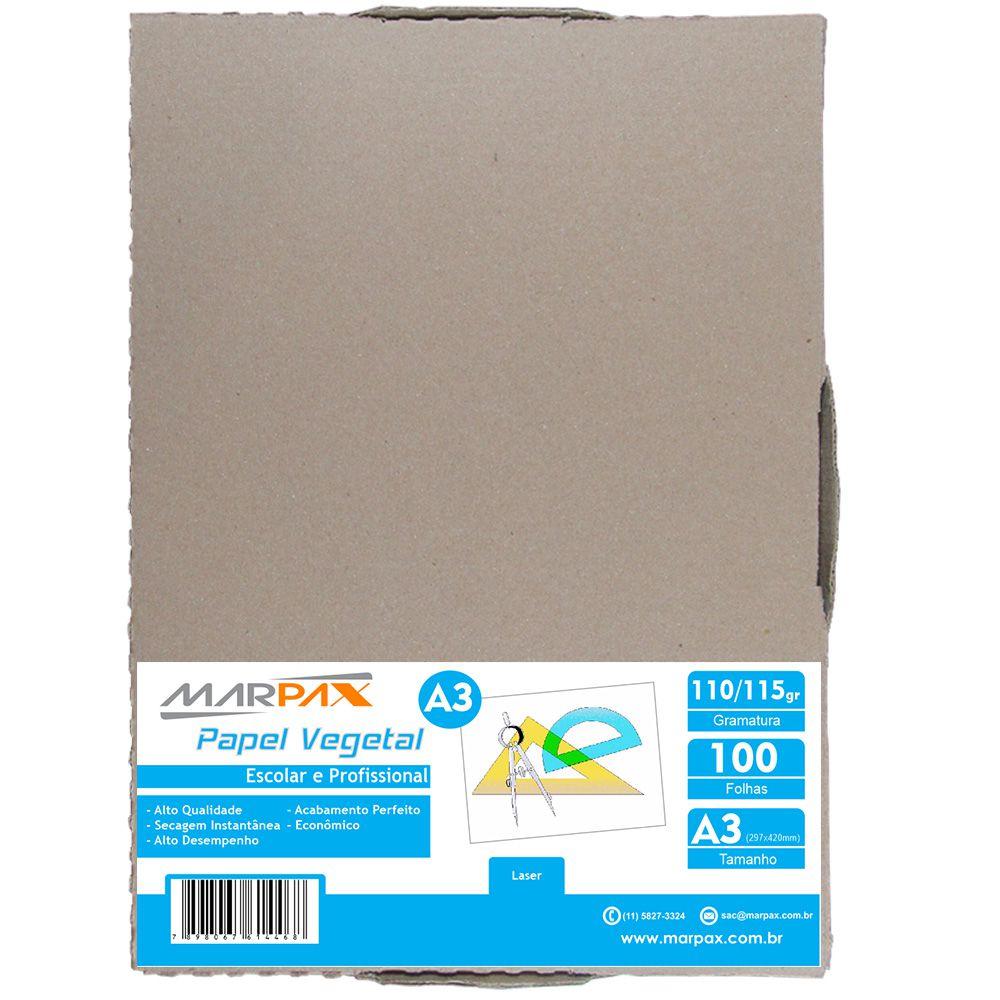 Papel Vegetal A3 297x420mm 110/115 g/m² Translúcido 100 Fls